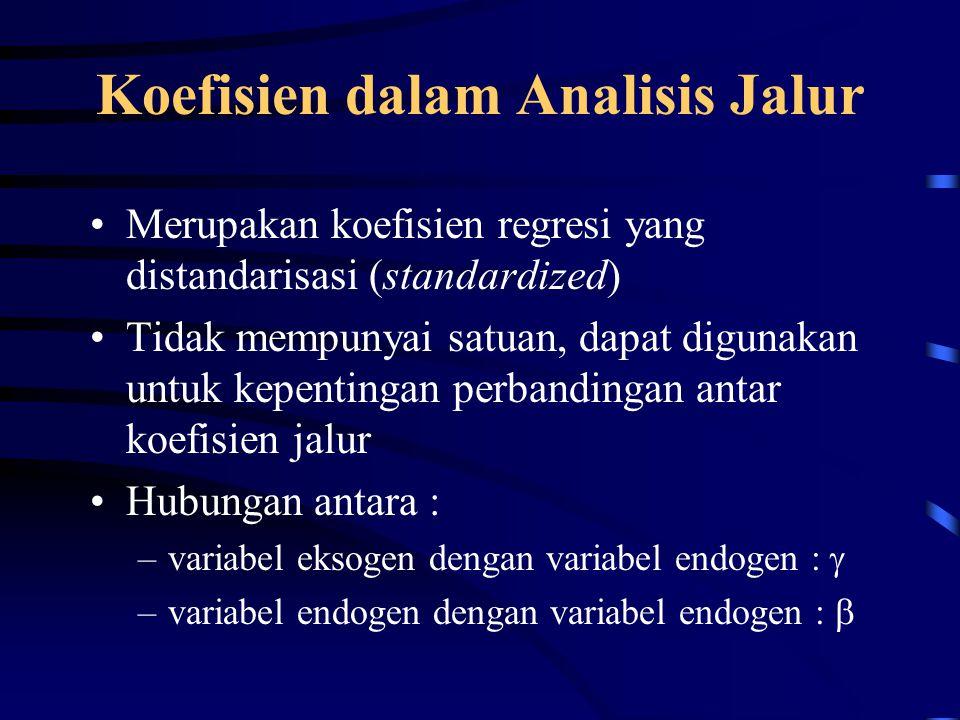 Koefisien dalam Analisis Jalur Merupakan koefisien regresi yang distandarisasi (standardized) Tidak mempunyai satuan, dapat digunakan untuk kepentingan perbandingan antar koefisien jalur Hubungan antara : –variabel eksogen dengan variabel endogen :  –variabel endogen dengan variabel endogen : 