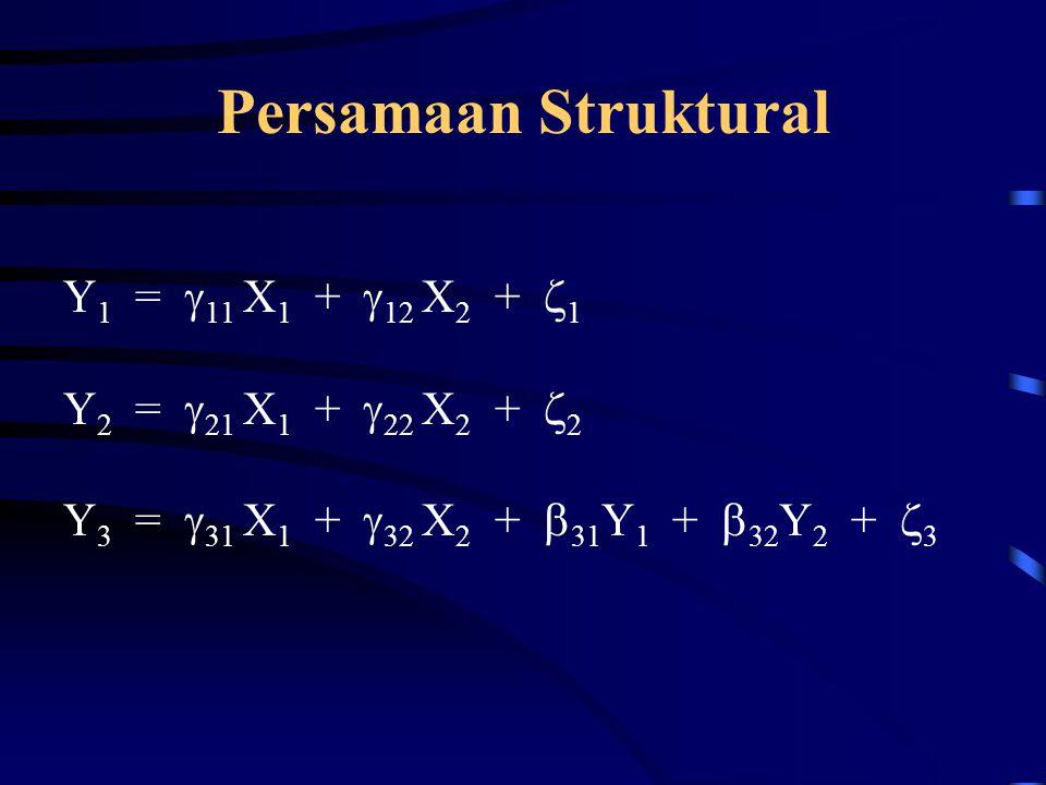 Persamaan Struktural Y 1 =  11 X 1 +  12 X 2 +  1 Y 2 =  21 X 1 +  22 X 2 +  2 Y 3 =  31 X 1 +  32 X 2 +  31 Y 1 +  32 Y 2 +  3