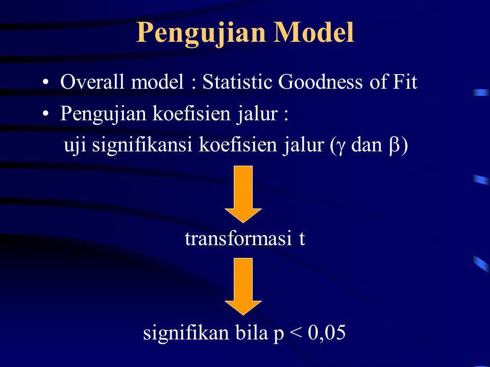 Pengujian Model Overall model : Statistic Goodness of Fit Pengujian koefisien jalur : uji signifikansi koefisien jalur (  dan  ) transformasi t signifikan bila p < 0,05