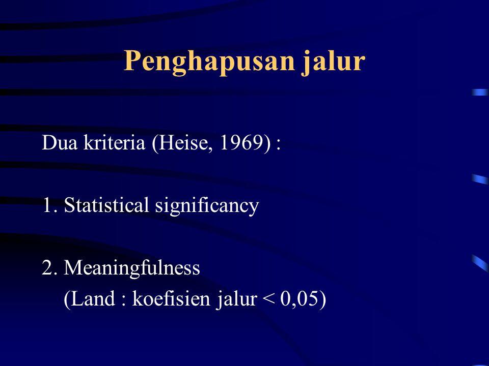 Penghapusan jalur Dua kriteria (Heise, 1969) : 1.Statistical significancy 2.