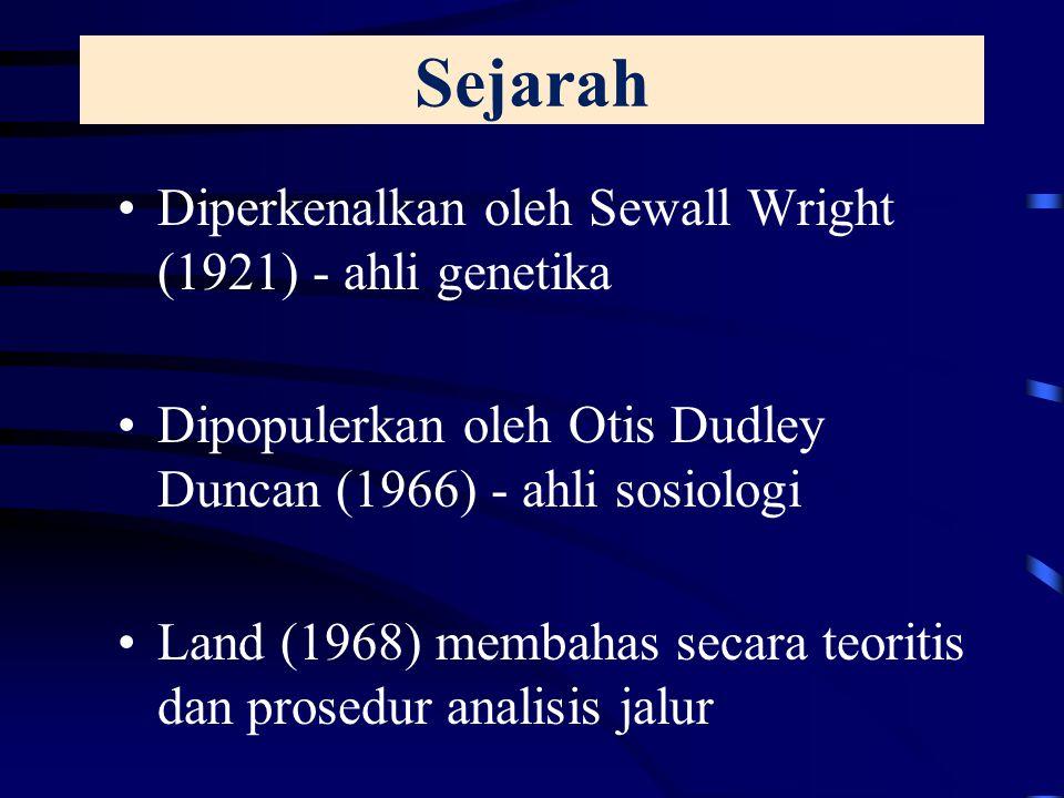 Sejarah Diperkenalkan oleh Sewall Wright (1921) - ahli genetika Dipopulerkan oleh Otis Dudley Duncan (1966) - ahli sosiologi Land (1968) membahas secara teoritis dan prosedur analisis jalur