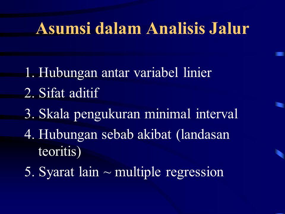 Asumsi dalam Analisis Jalur 1. Hubungan antar variabel linier 2. Sifat aditif 3. Skala pengukuran minimal interval 4. Hubungan sebab akibat (landasan