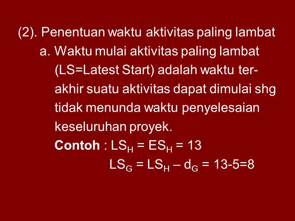 (2). Penentuan waktu aktivitas paling lambat a. Waktu mulai aktivitas paling lambat (LS=Latest Start) adalah waktu ter- akhir suatu aktivitas dapat di