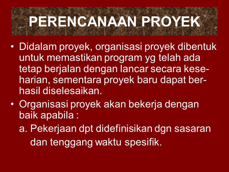 PERENCANAAN PROYEK Didalam proyek, organisasi proyek dibentuk untuk memastikan program yg telah ada tetap berjalan dengan lancar secara kese- harian,