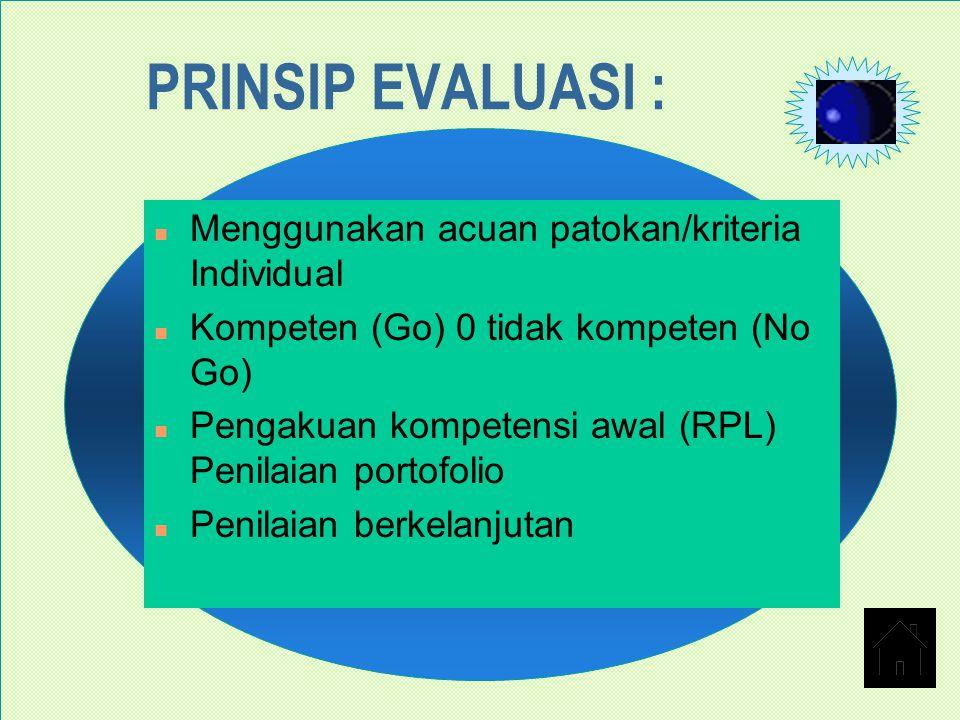 PRINSIP EVALUASI : n Menggunakan acuan patokan/kriteria Individual n Kompeten (Go) 0 tidak kompeten (No Go) n Pengakuan kompetensi awal (RPL) Penilaia