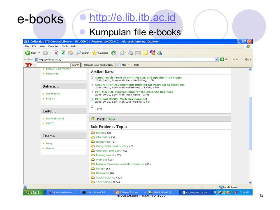 Perpustakaan Pusat ITB 200812 e-books http://e.lib.itb.ac.id Kumpulan file e-books