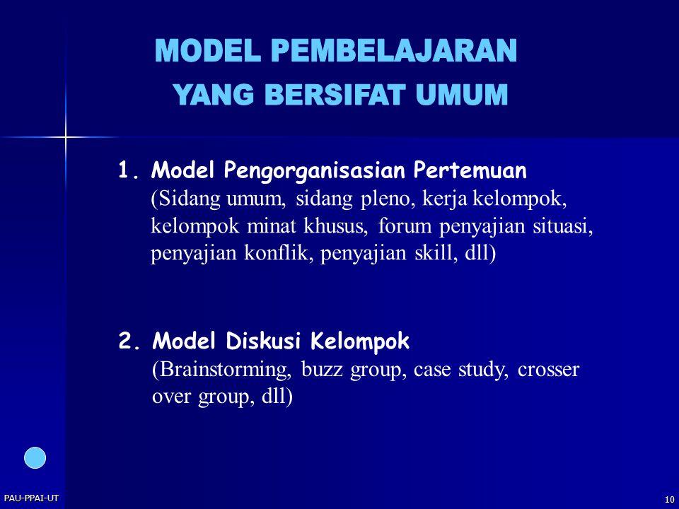 PAU-PPAI-UT 10 1.Model Pengorganisasian Pertemuan (Sidang umum, sidang pleno, kerja kelompok, kelompok minat khusus, forum penyajian situasi, penyajia