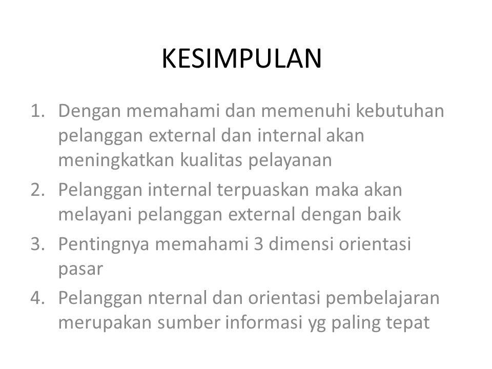 KESIMPULAN 1.Dengan memahami dan memenuhi kebutuhan pelanggan external dan internal akan meningkatkan kualitas pelayanan 2.Pelanggan internal terpuask