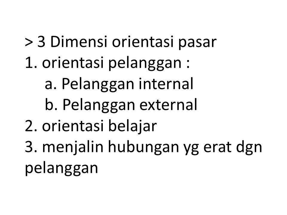 > 3 Dimensi orientasi pasar 1. orientasi pelanggan : a. Pelanggan internal b. Pelanggan external 2. orientasi belajar 3. menjalin hubungan yg erat dgn
