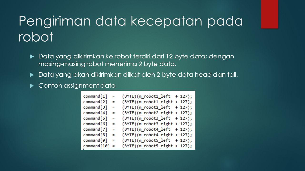 Pengiriman data kecepatan pada robot  Data yang dikirimkan ke robot terdiri dari 12 byte data; dengan masing-masing robot menerima 2 byte data.