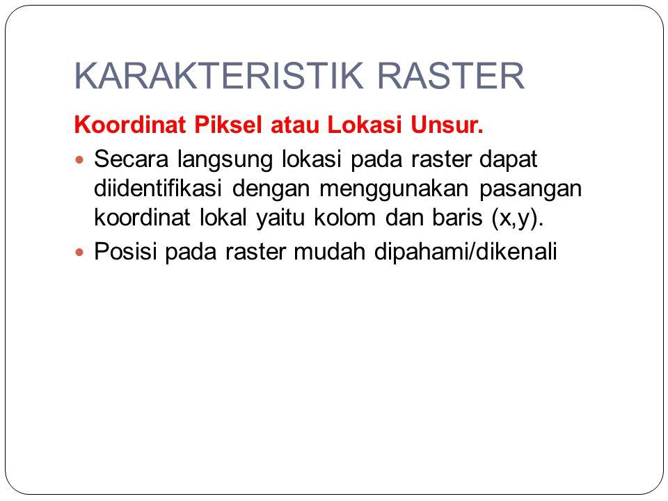 KARAKTERISTIK RASTER Koordinat Piksel atau Lokasi Unsur. Secara langsung lokasi pada raster dapat diidentifikasi dengan menggunakan pasangan koordinat