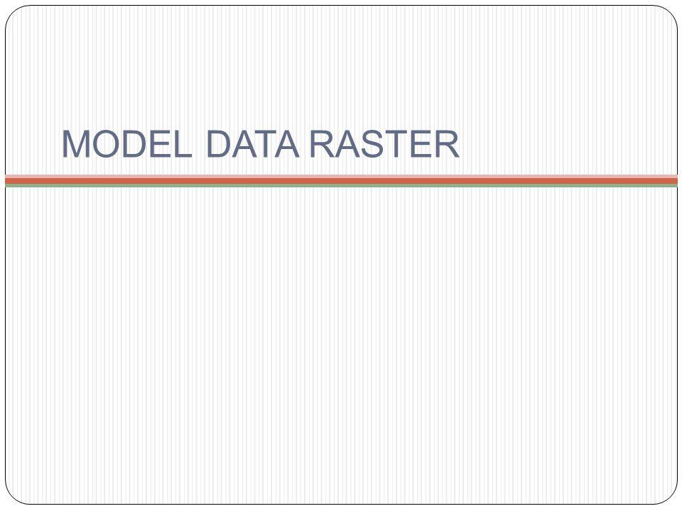 PENGANTAR Model data raster adalah model data yang menampilkan, menempatkan, dan menyimpan content data spasial dengan menggunakan struktur matriks atau susunan pixel yang membentuk grid.