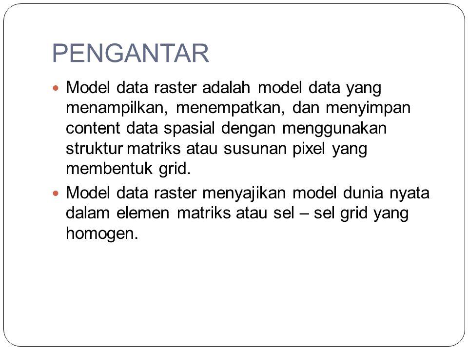 PENGANTAR Model data raster adalah model data yang menampilkan, menempatkan, dan menyimpan content data spasial dengan menggunakan struktur matriks at