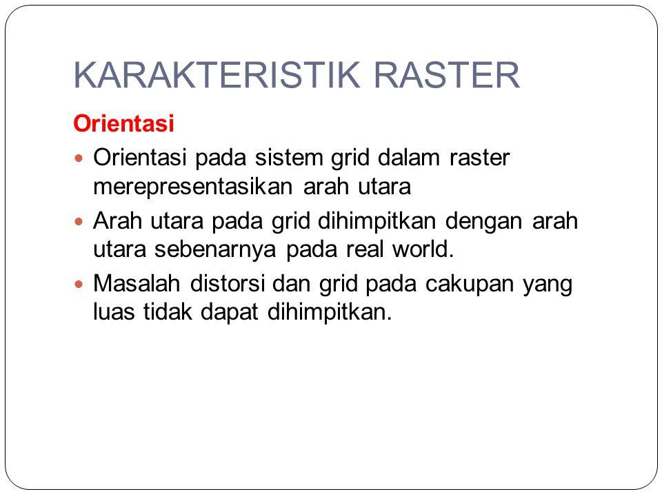 KARAKTERISTIK RASTER Zone Setiap zone pada layer raster merupakan sekumpulan lokasi yang memperlihatkan nilai (ID) yang sama.