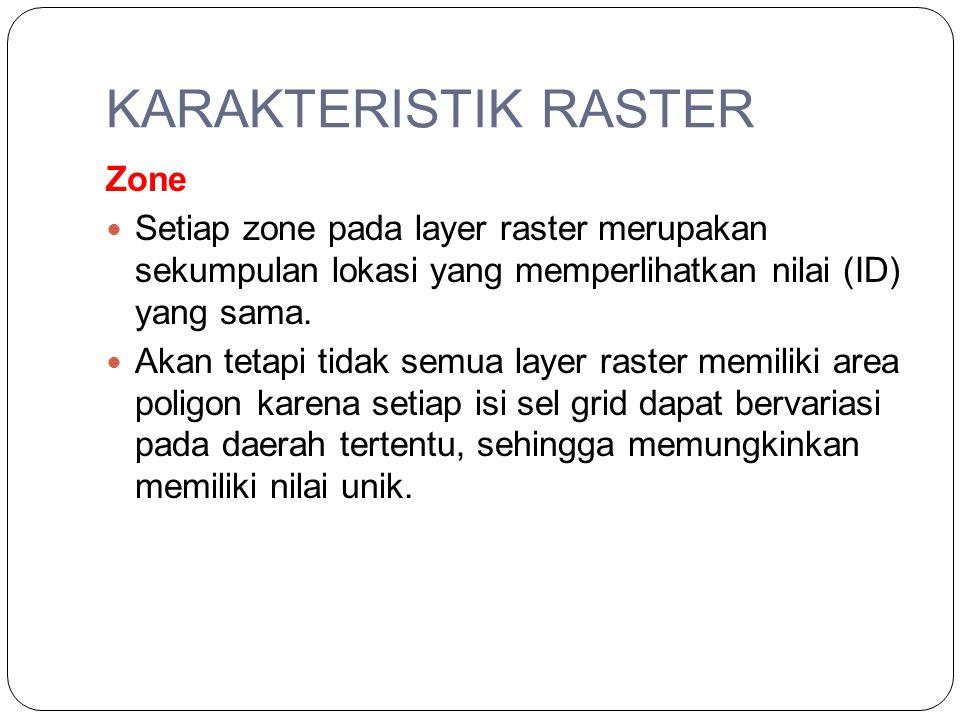 KARAKTERISTIK RASTER Zone Setiap zone pada layer raster merupakan sekumpulan lokasi yang memperlihatkan nilai (ID) yang sama. Akan tetapi tidak semua