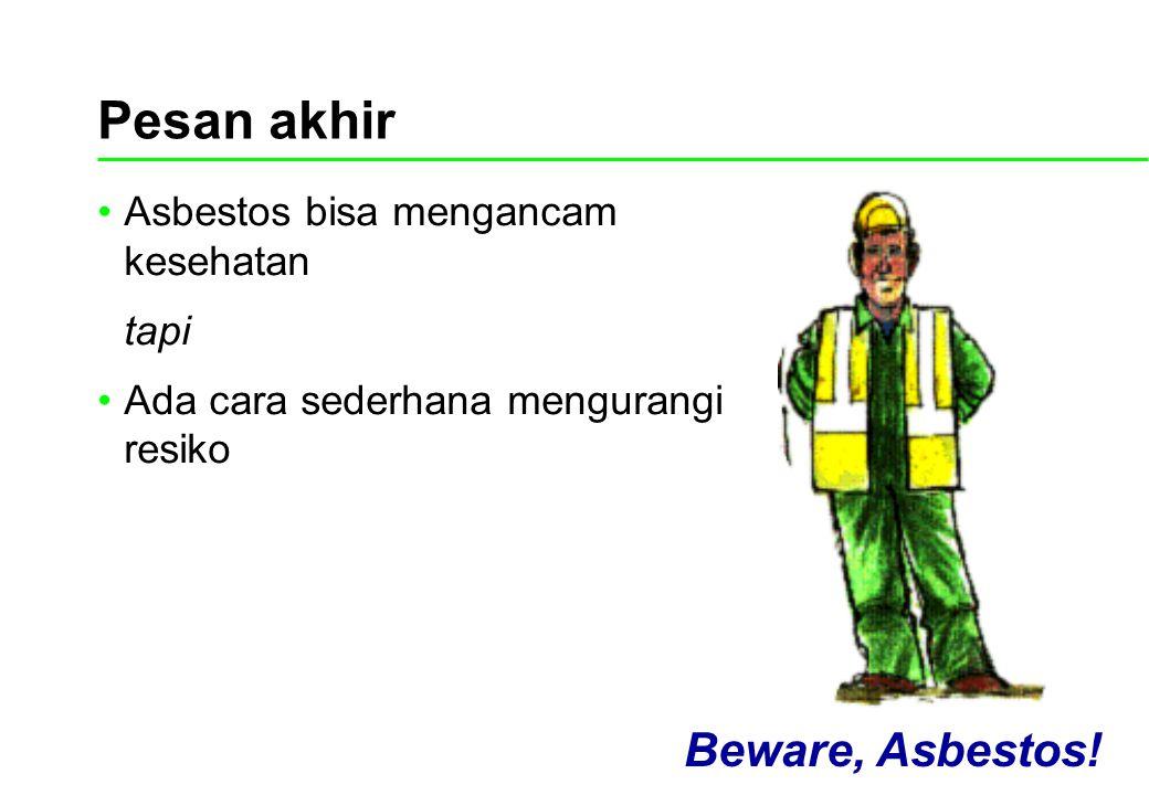 Asbestos bisa mengancam kesehatan tapi Ada cara sederhana mengurangi resiko Beware, Asbestos! Pesan akhir