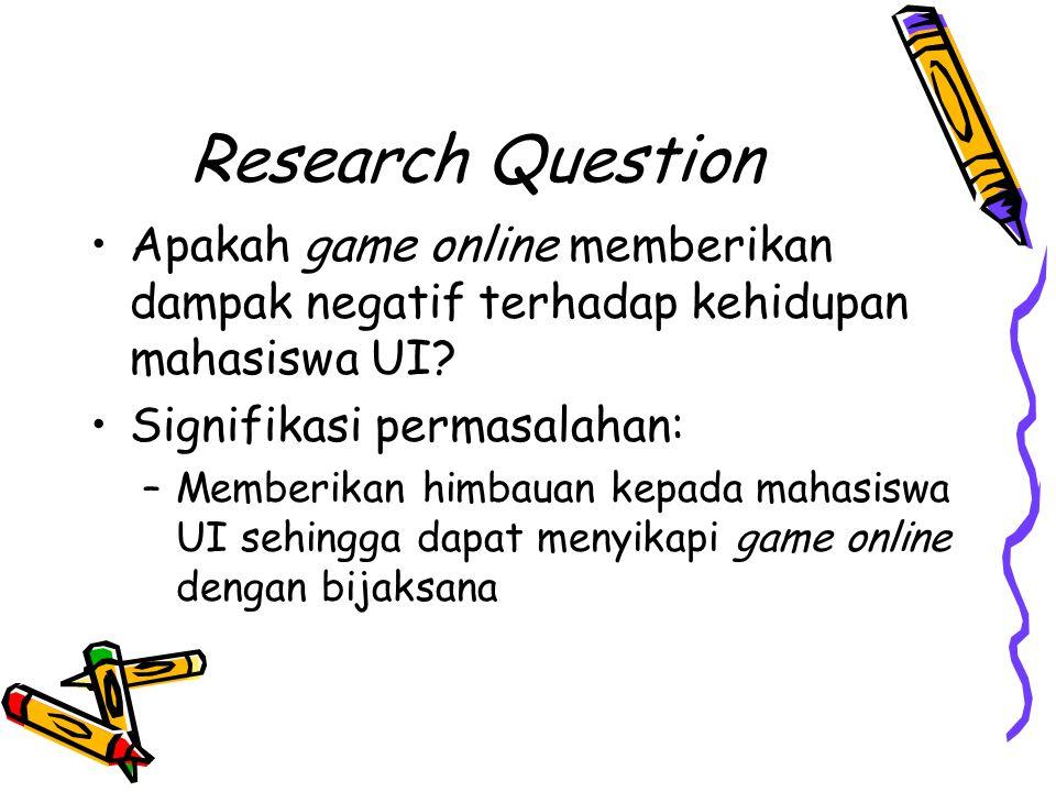 Research Question Apakah game online memberikan dampak negatif terhadap kehidupan mahasiswa UI? Signifikasi permasalahan: –Memberikan himbauan kepada