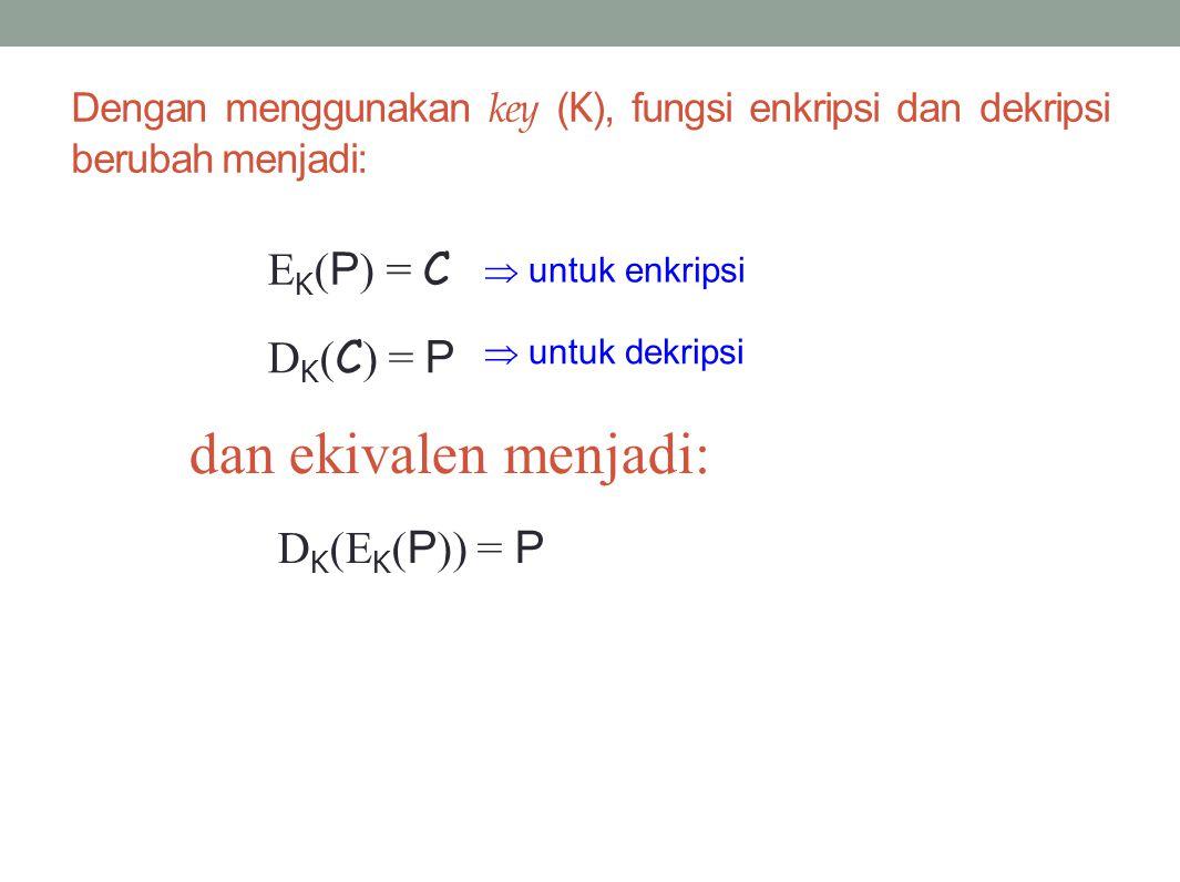 Dengan menggunakan key ( K ), fungsi enkripsi dan dekripsi berubah menjadi: E K ( P ) = C D K ( C ) = P  untuk enkripsi  untuk dekripsi dan ekivalen