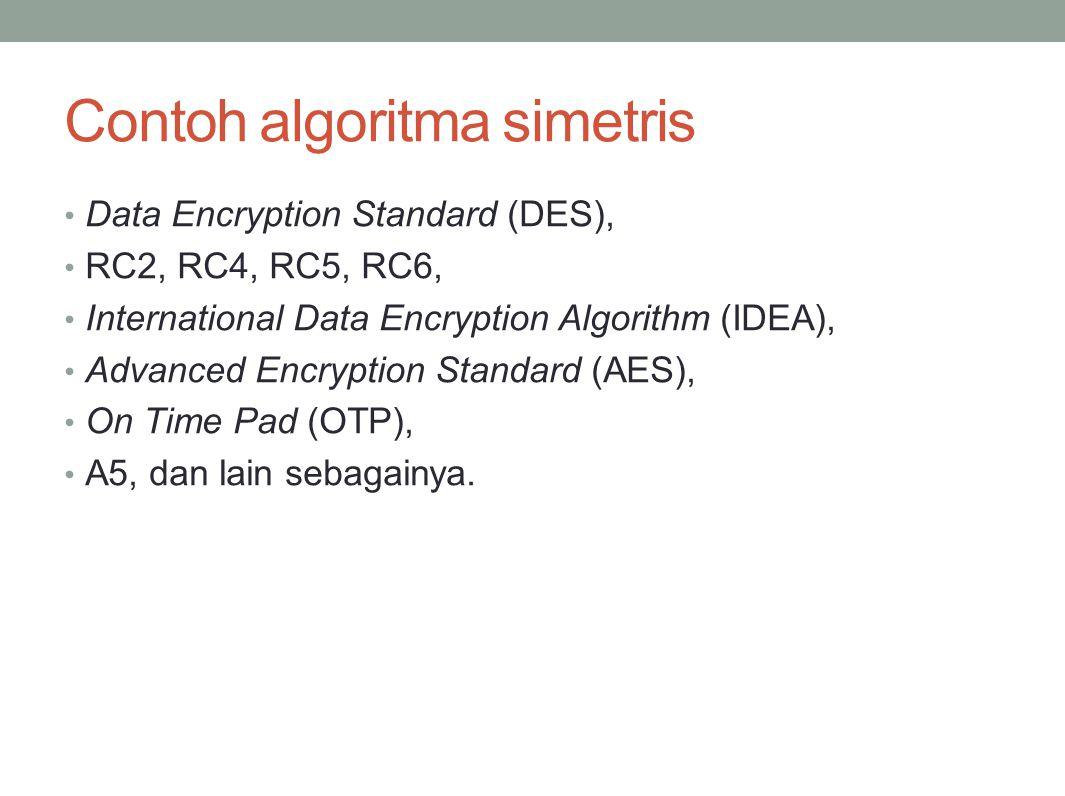 Contoh algoritma simetris Data Encryption Standard (DES), RC2, RC4, RC5, RC6, International Data Encryption Algorithm (IDEA), Advanced Encryption Stan