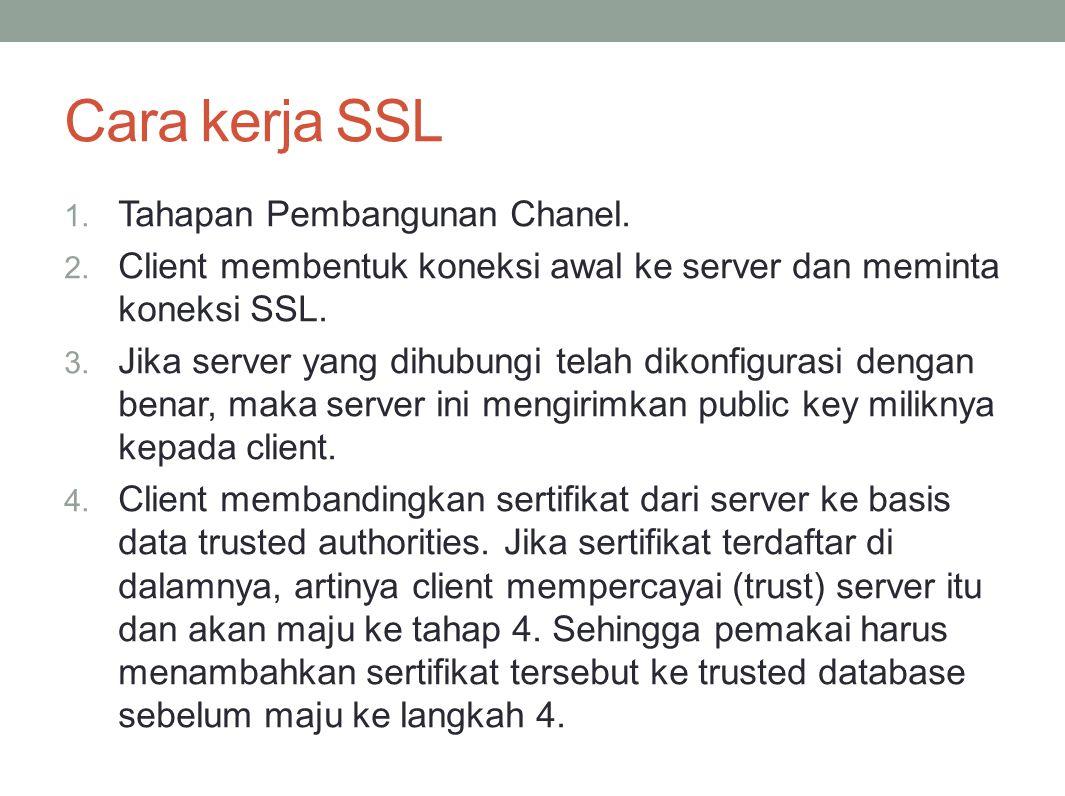 Cara kerja SSL 1. Tahapan Pembangunan Chanel. 2. Client membentuk koneksi awal ke server dan meminta koneksi SSL. 3. Jika server yang dihubungi telah