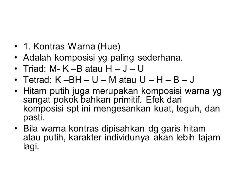 1.Kontras Warna (Hue) Adalah komposisi yg paling sederhana.