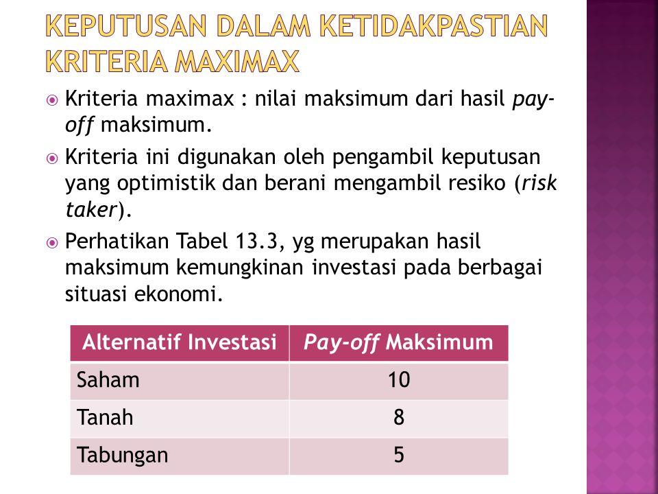  Kriteria maximax : nilai maksimum dari hasil pay- off maksimum.  Kriteria ini digunakan oleh pengambil keputusan yang optimistik dan berani mengamb