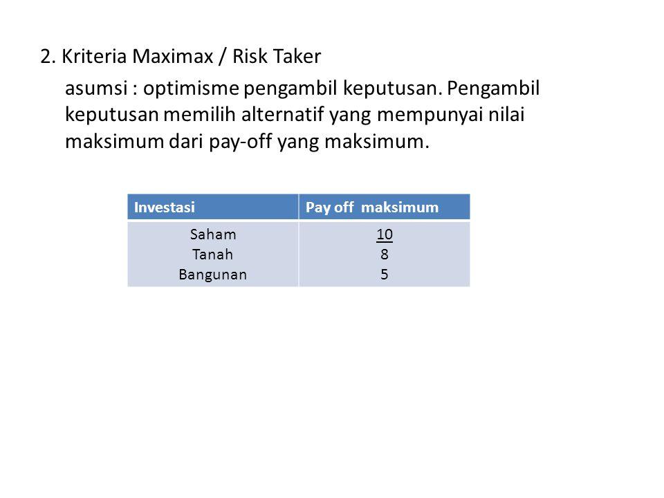 2. Kriteria Maximax / Risk Taker asumsi : optimisme pengambil keputusan. Pengambil keputusan memilih alternatif yang mempunyai nilai maksimum dari pay