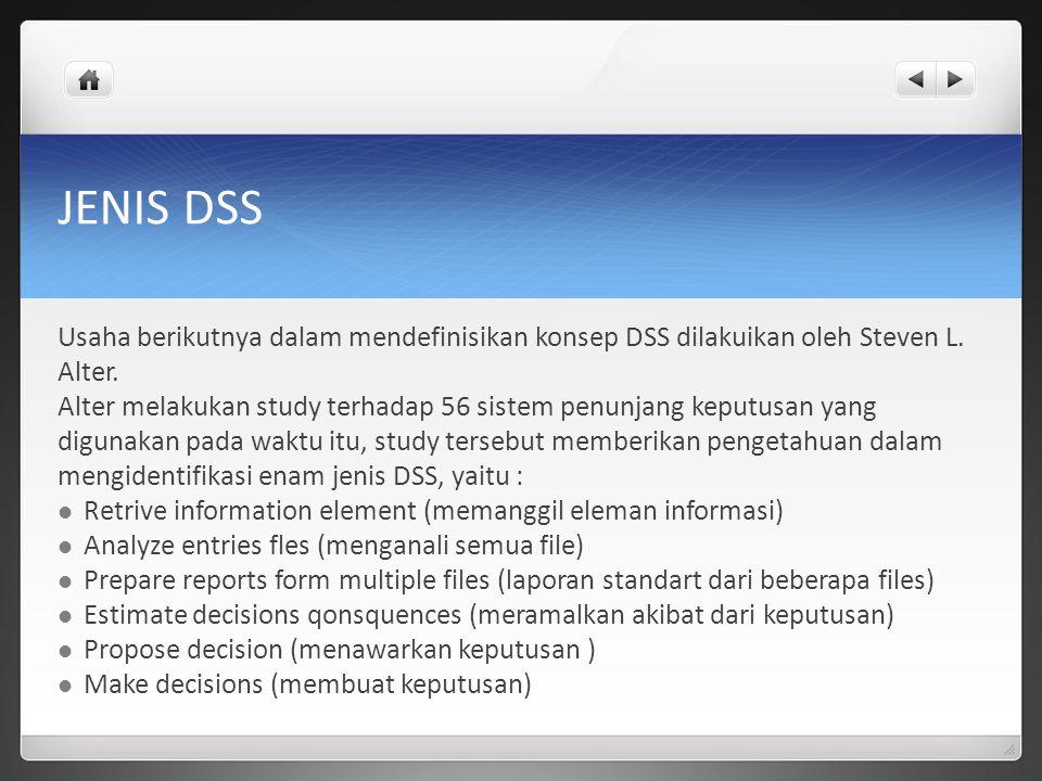 JENIS DSS Usaha berikutnya dalam mendefinisikan konsep DSS dilakuikan oleh Steven L. Alter. Alter melakukan study terhadap 56 sistem penunjang keputus