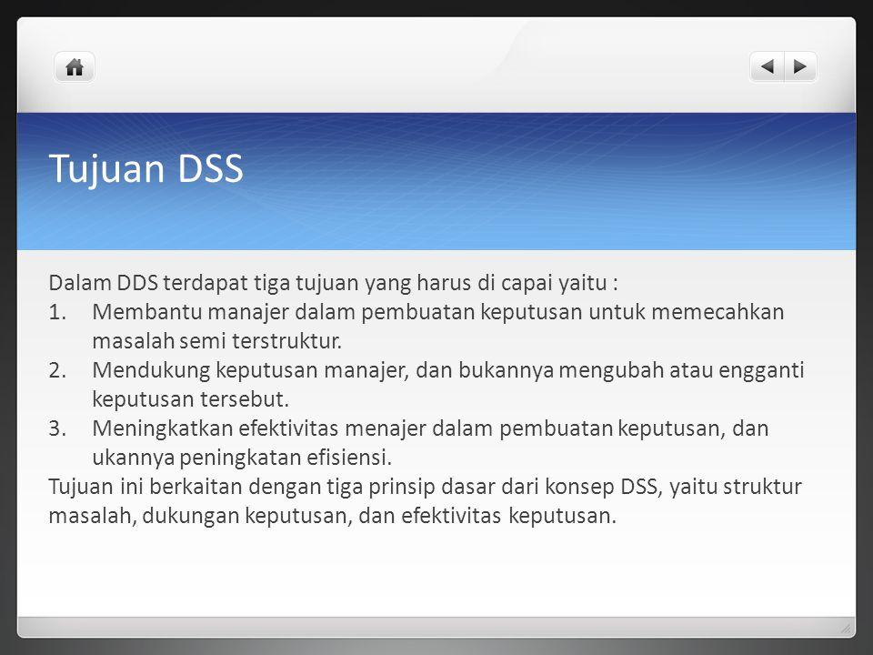 Tujuan DSS Dalam DDS terdapat tiga tujuan yang harus di capai yaitu : 1.Membantu manajer dalam pembuatan keputusan untuk memecahkan masalah semi terst