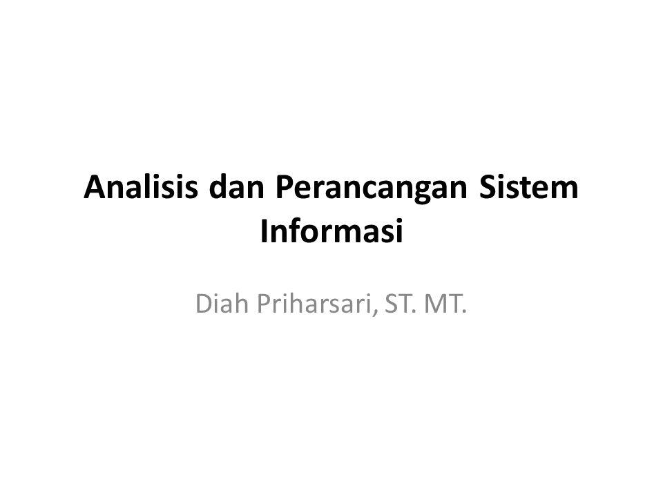 Analisis dan Perancangan Sistem Informasi Diah Priharsari, ST. MT. priharsari@yahoo.com PTIIK - UB RENCANA PEMBELAJARAN