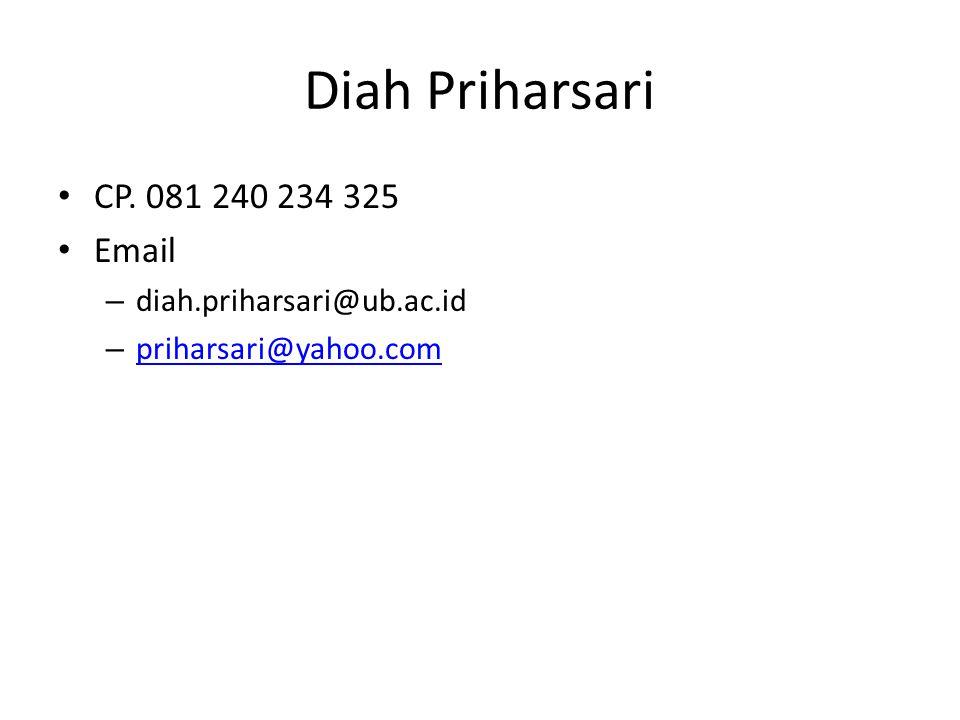 Diah Priharsari CP. 081 240 234 325 Email – diah.priharsari@ub.ac.id – priharsari@yahoo.com priharsari@yahoo.com