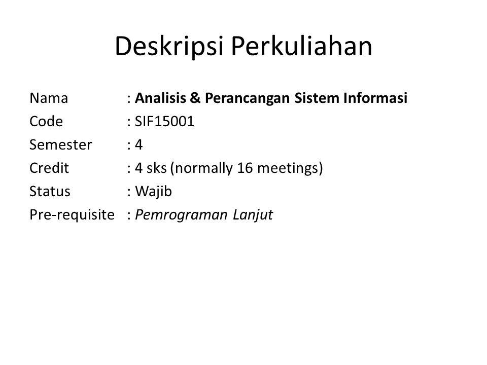 Deskripsi Perkuliahan Nama : Analisis & Perancangan Sistem Informasi Code: SIF15001 Semester: 4 Credit: 4 sks (normally 16 meetings) Status: Wajib Pre