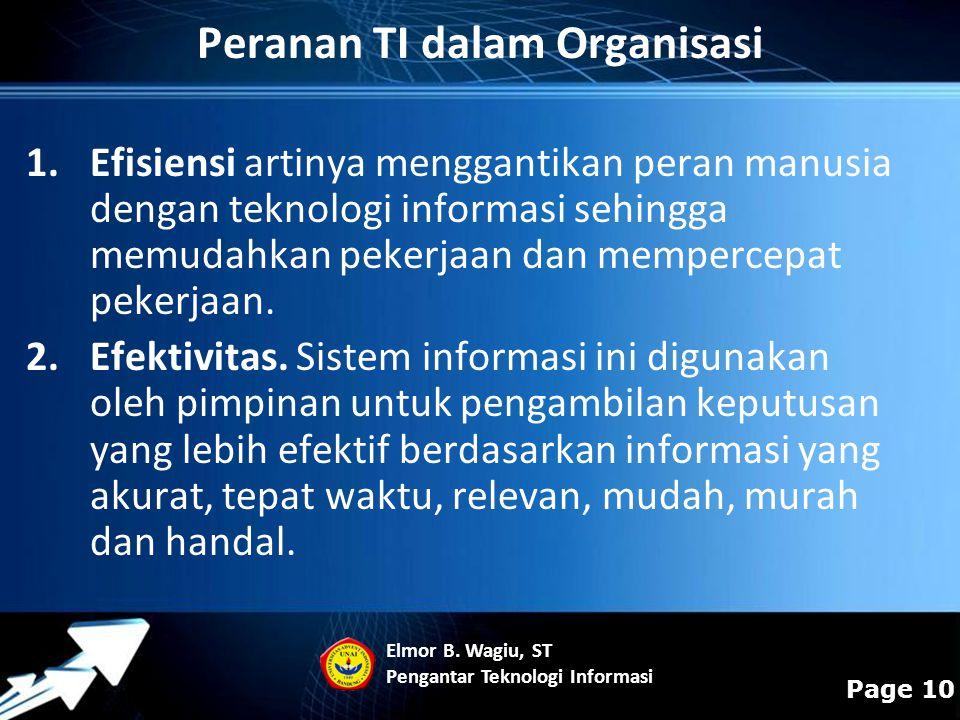Powerpoint Templates Page 10 Peranan TI dalam Organisasi 1.Efisiensi artinya menggantikan peran manusia dengan teknologi informasi sehingga memudahkan