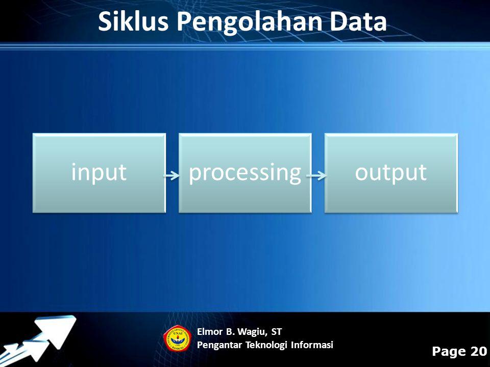 Powerpoint Templates Page 20 Siklus Pengolahan Data inputprocessingoutput Elmor B. Wagiu, ST Pengantar Teknologi Informasi