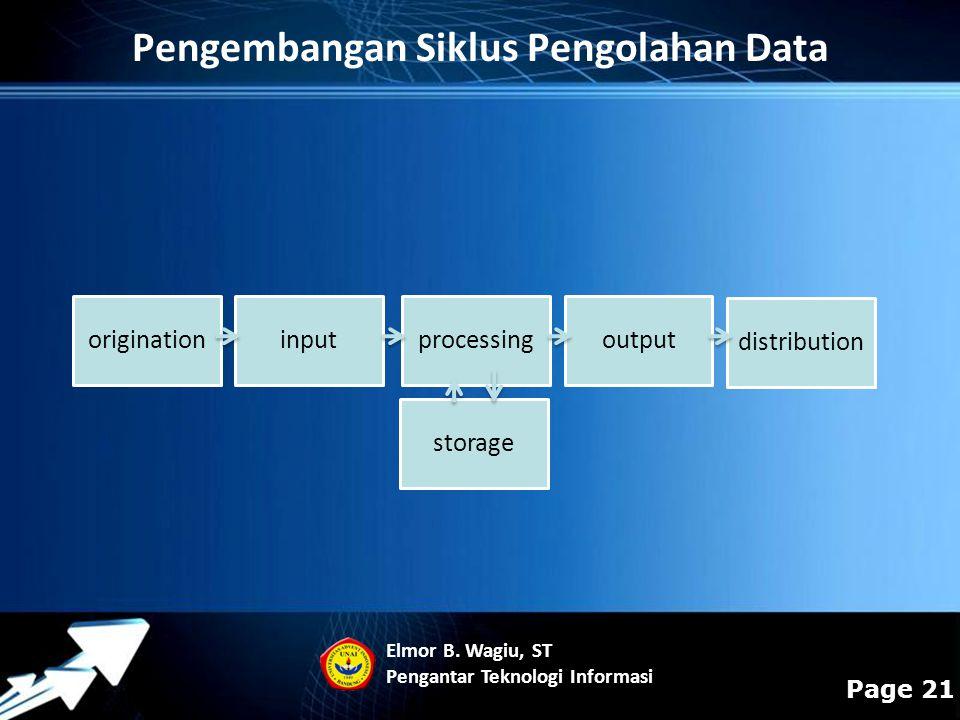Powerpoint Templates Page 21 Pengembangan Siklus Pengolahan Data originationinputprocessingoutput distribution storage Elmor B. Wagiu, ST Pengantar Te