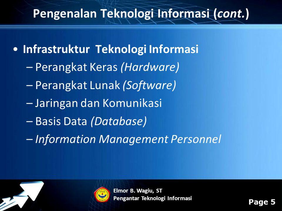 Powerpoint Templates Page 5 Infrastruktur Teknologi Informasi –Perangkat Keras (Hardware) –Perangkat Lunak (Software) –Jaringan dan Komunikasi –Basis