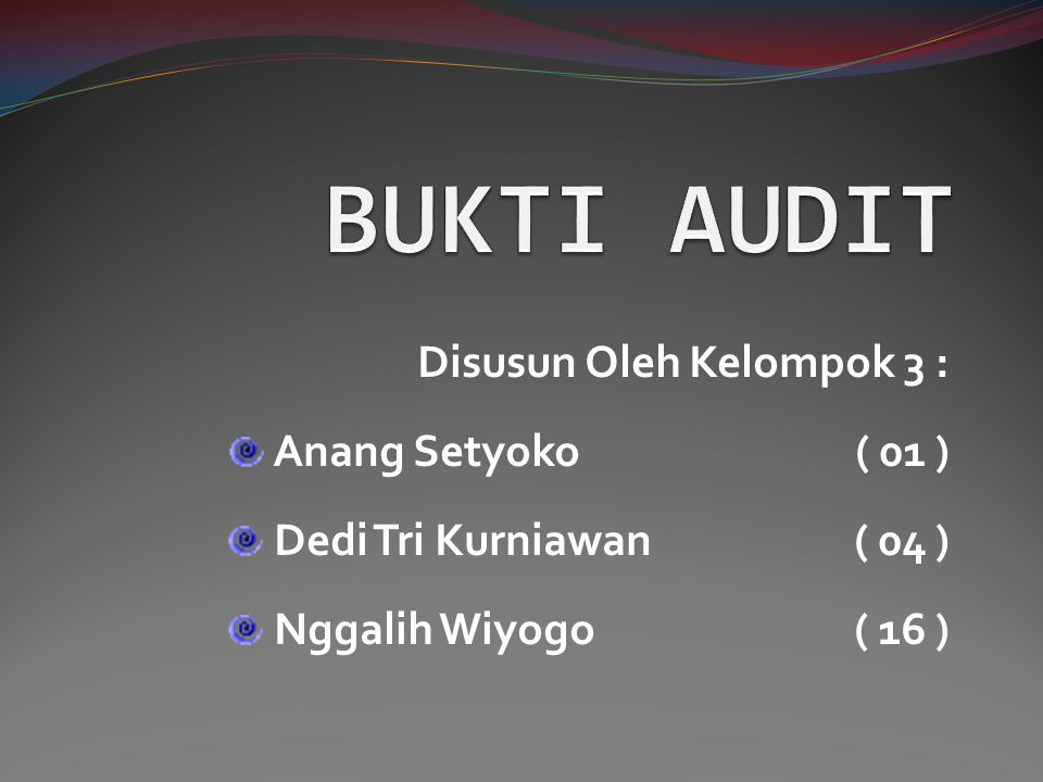 Disusun Oleh Kelompok 3 : Anang Setyoko( 01 ) Dedi Tri Kurniawan( 04 ) Nggalih Wiyogo( 16 )