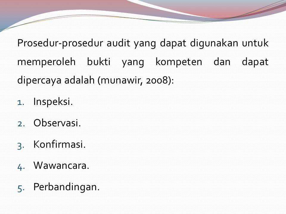 Prosedur-prosedur audit yang dapat digunakan untuk memperoleh bukti yang kompeten dan dapat dipercaya adalah (munawir, 2008): 1. Inspeksi. 2. Observas