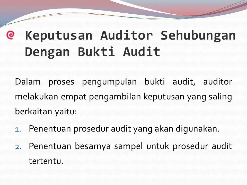 Keputusan Auditor Sehubungan Dengan Bukti Audit Dalam proses pengumpulan bukti audit, auditor melakukan empat pengambilan keputusan yang saling berkaitan yaitu: 1.