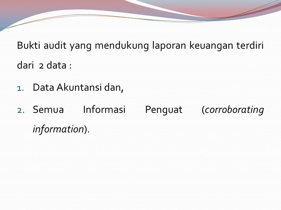 Bukti audit yang mendukung laporan keuangan terdiri dari 2 data : 1.