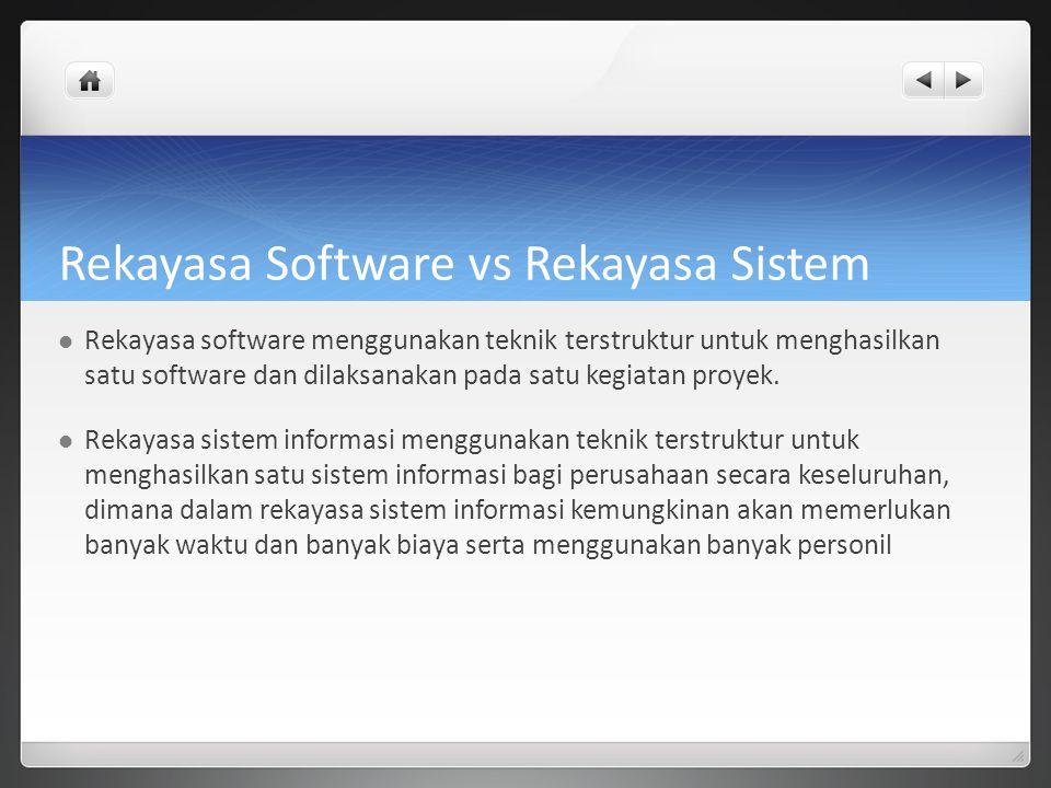 Rekayasa Software vs Rekayasa Sistem Rekayasa software menggunakan teknik terstruktur untuk menghasilkan satu software dan dilaksanakan pada satu kegi