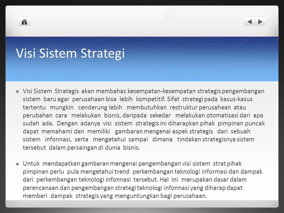 Visi Sistem Strategi Visi Sistem Strategis akan membahas kesempatan-kesempatan strategis pengembangan sistem baru agar perusahaan bisa lebih kompetiti