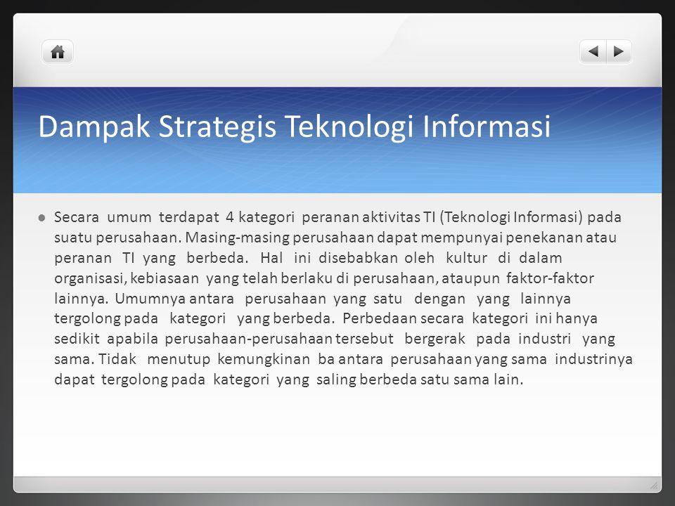 Dampak Strategis Teknologi Informasi Secara umum terdapat 4 kategori peranan aktivitas TI (Teknologi Informasi) pada suatu perusahaan. Masing-masing p