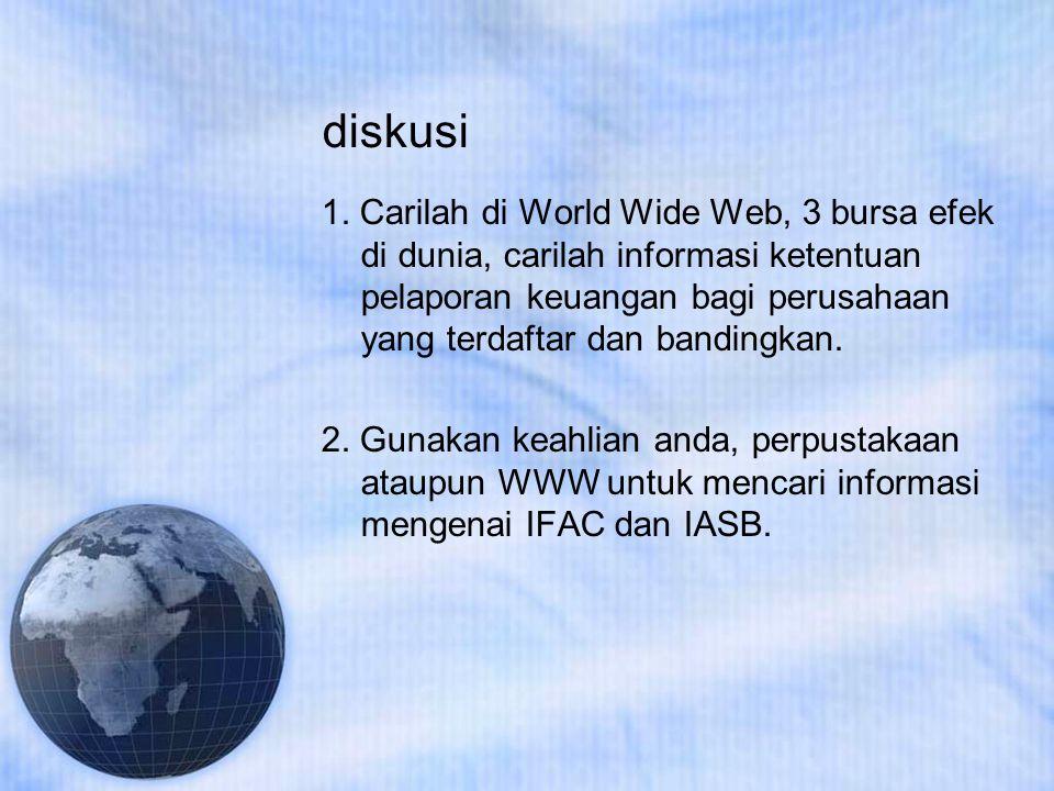 diskusi 1. Carilah di World Wide Web, 3 bursa efek di dunia, carilah informasi ketentuan pelaporan keuangan bagi perusahaan yang terdaftar dan banding