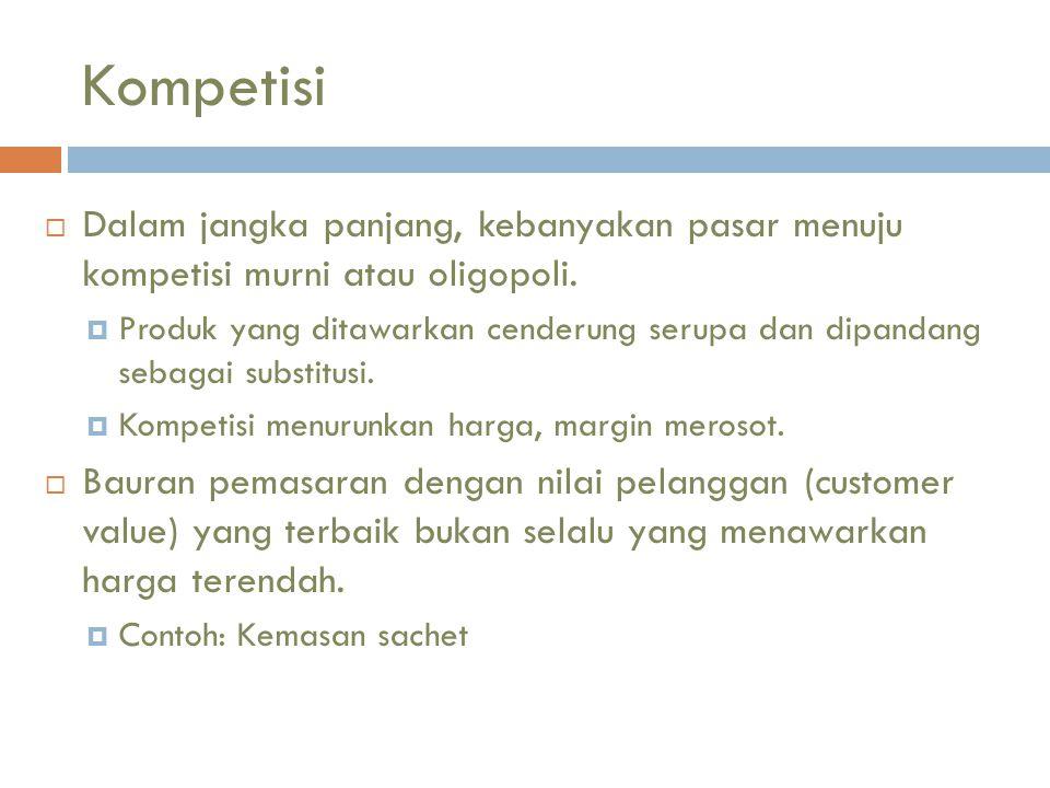 Kompetisi  Dalam jangka panjang, kebanyakan pasar menuju kompetisi murni atau oligopoli.