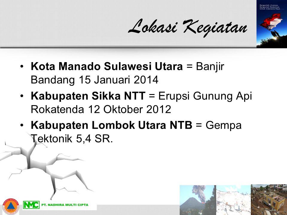 Lokasi Kegiatan Kota Manado Sulawesi Utara = Banjir Bandang 15 Januari 2014 Kabupaten Sikka NTT = Erupsi Gunung Api Rokatenda 12 Oktober 2012 Kabupate