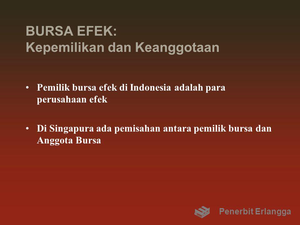 BURSA EFEK: Kepemilikan dan Keanggotaan Pemilik bursa efek di Indonesia adalah para perusahaan efek Di Singapura ada pemisahan antara pemilik bursa da