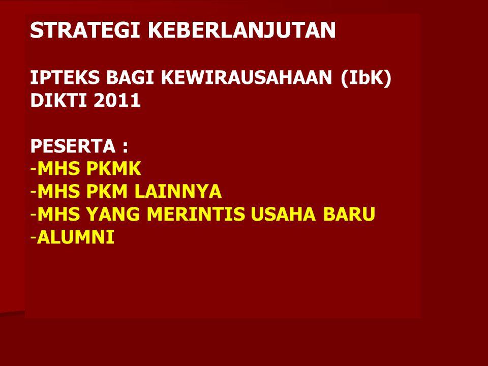 STRATEGI KEBERLANJUTAN IPTEKS BAGI KEWIRAUSAHAAN (IbK) DIKTI 2011 -PROGRAM BARU KEWIRAUSAHAAN -3 TAHUN BERURUTAN -MENGELOLA 20 TENANT DARI SELURUH PROGDI -DANA 1OO JUTA (DIKTI), 20 JUTA (PT) -TERAKHIR 31 MEI 2011 -SINERGI PENGELOLAAN LPM / LPPM DG BID.