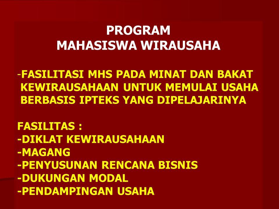 ANALISIS PROGRAM KEWIRAUSAHAAN -MASIH TERBATAS PENGEMBANGAN IDE KREATIF / DAYA INOVASI MHS -IMPLEMANTASINYA SANGAT TERBATAS -AKTIVITAS KEWIRAUSAHAAN NYATA MASIH RENDAH DIADAKANLAH : PROGRAM MAHASISWA WIRAUSAHA (PMW)