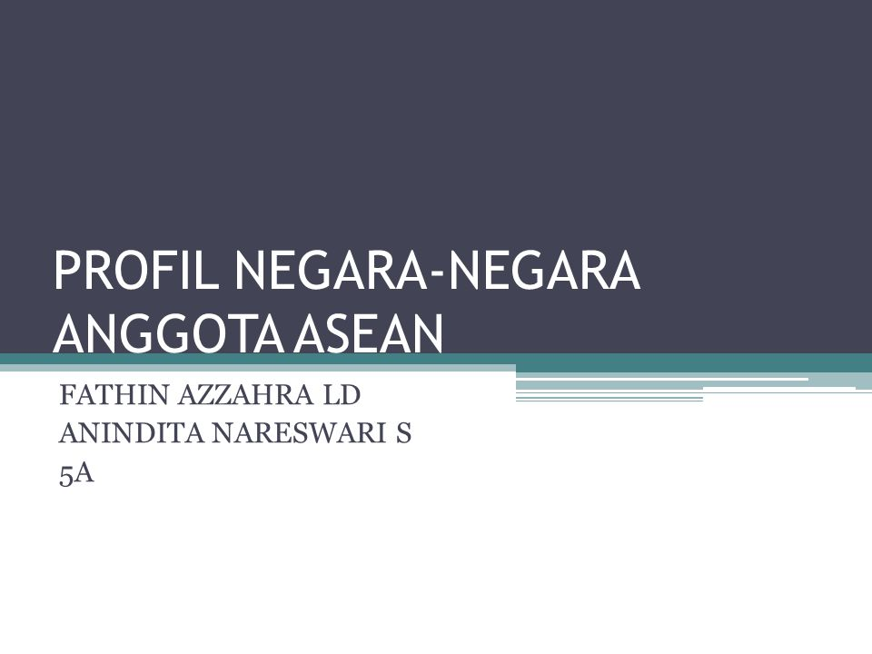 PROFIL NEGARA-NEGARA ANGGOTA ASEAN FATHIN AZZAHRA LD ANINDITA NARESWARI S 5A
